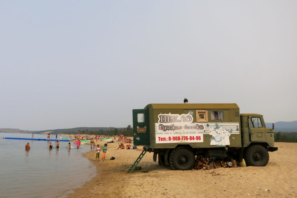 Mobile Sauna auf der Insel Olchon im Baikalsee