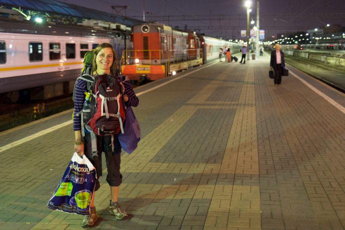 Auf dem Bahnsteig, Transsib, Moskau