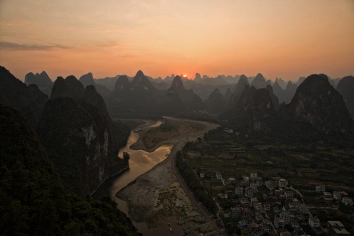 Karstberge Xingping, Guangxi Provinz, China