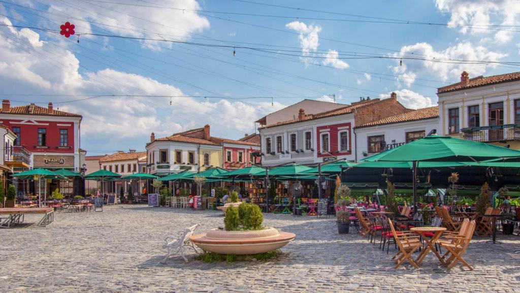 Das alte Basar-Viertel in Korca, Albanien