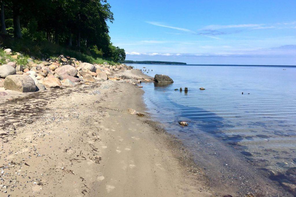 Blick auf den Strand und das Meer von Horreby - Radtour durch Dänemark