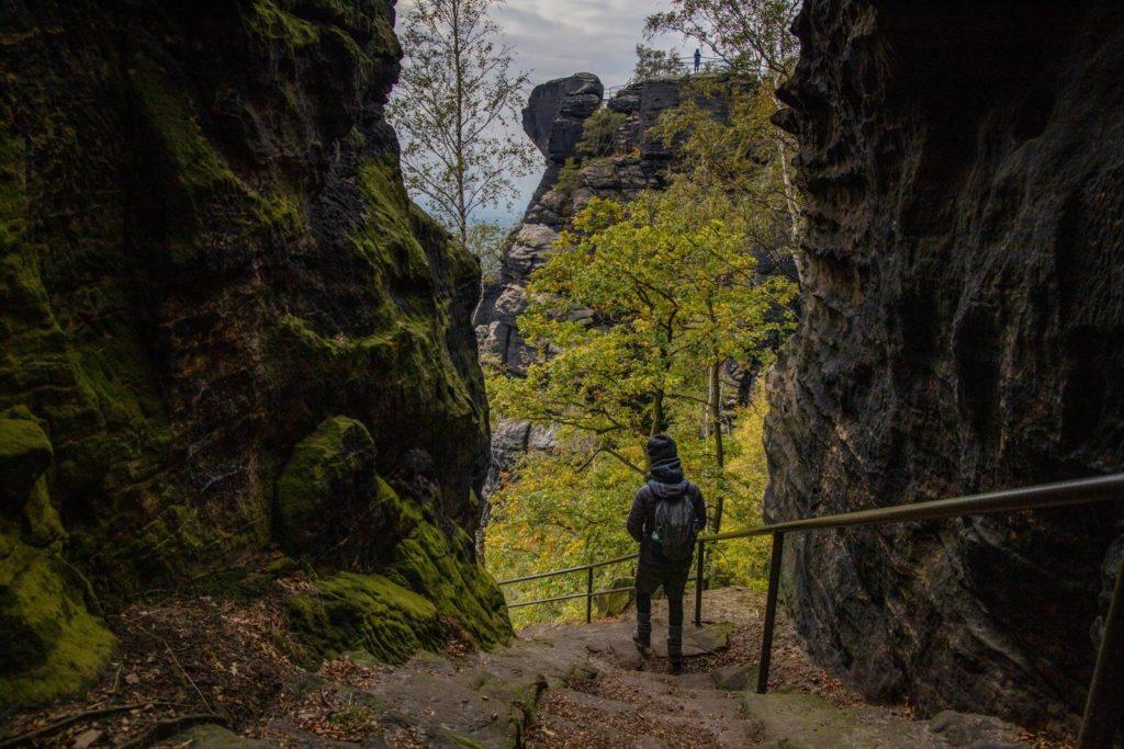 Abstieg vom Lilienstein - Wandern in der Sächsischen Schweiz