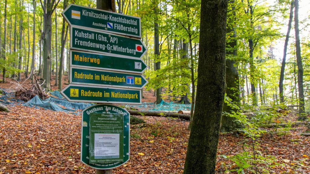 Beschilderung Wanderwege in der Sächsischen Schweiz