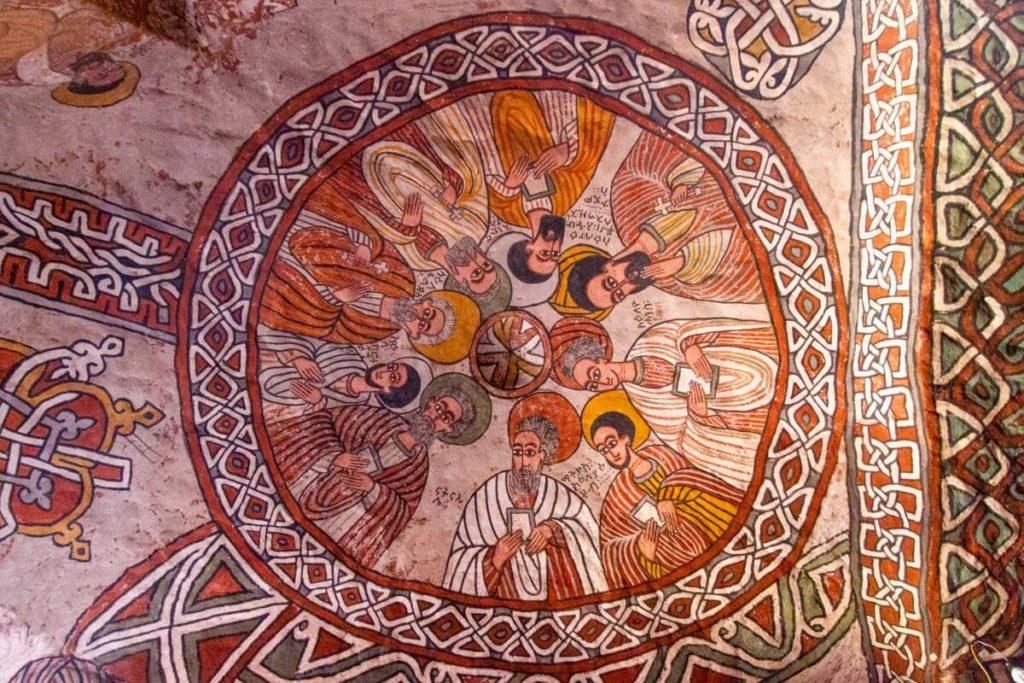 Deckenmalerei in der Felsenkirche Abuna Yemata Guh - Äthiopien Reisebericht in Bildern