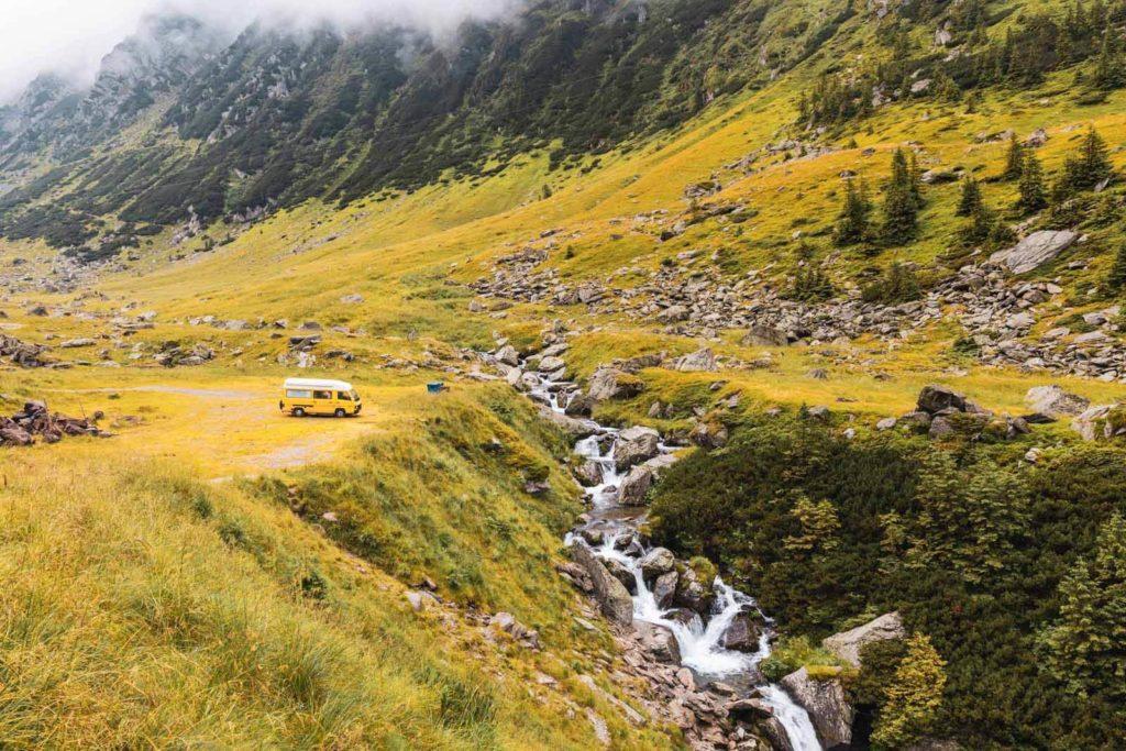 Transfăgărășan Hochstrasse Camping mit Wohnmobil Rumänien Roadtrip